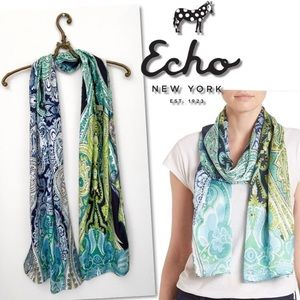 🆕 ECHO BLUE GREEN PAISLEY OBLONG WRAP SCARF